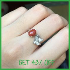 Natural Agate Rings for Women Sterling Silver 925 Jewelry Butterfly Pave Set White Gold Color Engagement Ring Gift anel de ouro