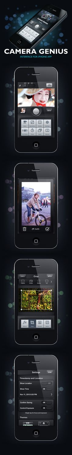 """Camera Genius by Artua - """"A camera application that significantly increase standard functionality. It works on almost any Apple device that has iOS 4.0+ installed. It has separate focus and exposure areas, picture editing tools and effects, social network sharing feature and more..."""""""