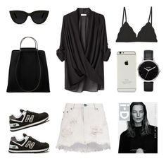 Black and White Monday by fashionlandscape on Polyvore featuring Mode, Helmut Lang, Cosabella, New Balance, Hermès, Nixon, Quay and One Teaspoon