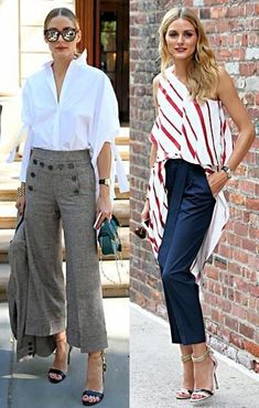 OP Olivia Palermo wearing a flown top and cropped pants / jeans