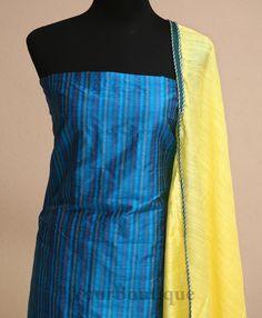 PM003-1 Blue striped raw silk salwar, tissue bottom with cotton silk stole