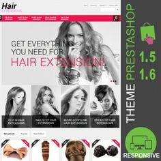 Thème PrestaShop 1.5 et 1.6 pour site e-commerce destiné à la vente d'extensions de cheveux : clips en extensions, mèches en cheveux naturels, volumes…