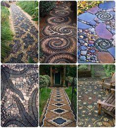 Gorgeous pieced stone mosaic walkways
