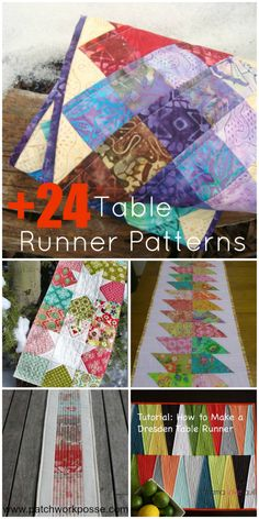 Simple sewing projects-- the table runner is a great place to learn a few new techniques. There are over 24 different table runner patterns to pick from.