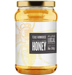 Label designs for a DFW apiary selling honey to local restaurants, Whole Foods and farmer's markets.