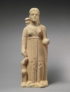 A third-century BC Cypriot limestone statue of the Greek goddess Artemis, goddess of the hunt and wild animals; she is depicted with her symbolic attributes, a fawn and a quiver. (Metropolitan Museum of Art)