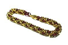 Red and Gold Anodized Aluminum Byzantine by VincentsChainmaille