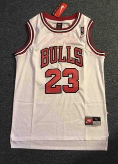 12068b0dd45 Men 23 Michael Jordan Jersey White Chicago Bulls Swingman Fanatics