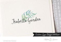 Premade logo design watercolor flower logo feather logo photography logo website…