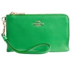 Coach Embossed Textured Leather Small L-Zip Wristlet 52392 Jade