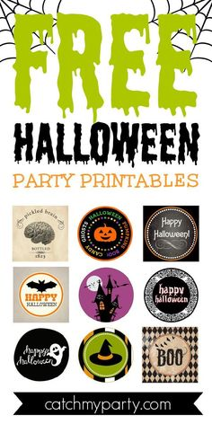 If you are planning a Halloween party and are looking for FREE Halloween printables look no further. We've got you covered! See more party ideas and share yours at CatchMyParty.com #catchmyparty #partyideas #freeprintable #halloweenprintables #freehalloweenprintables