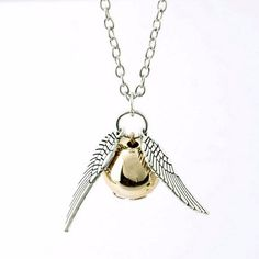 New Harry Potter Necklace 2015 Popular Drop Fine Jewelry Angel Wing Charm Golden Snitch Pendent Necklace Men Jewelry Vintage