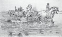Horses bathing in the sea by Lucy Kemp-Welch (1869–1958): The painting's genesis | NGV