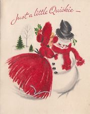 Vintage Greeting Card Christmas Girl Kissing Snowman Flocked Red Dress r430