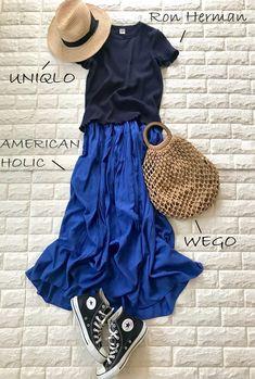 Dark blue, bright blue, beige for summer. Petite Fashion, Love Fashion, Girl Fashion, Fashion Outfits, Womens Fashion, Grunge Fashion, 90s Fashion, Japanese Fashion, Korean Fashion