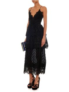Tiered lace midi dress   Self-portrait   MATCHESFASHION.COM