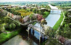 Vista del puente de árboles. Jardín Botánico de Houston por West 8
