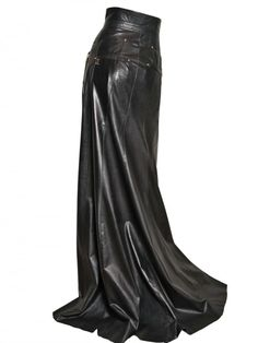 high-waisted long leather skirt balmain pre-fall2013 luisviaroma
