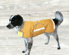 Winter Dog Coat, custom made with adjustable velcro closures and reflective strips for safety by madebyde on Etsy https://www.etsy.com/listing/216978073/winter-dog-coat-custom-made-with