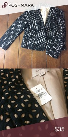 FLASH sale! Loft blazer Loft blazer size 6. Black and crime. Cutout floral fabric. Nwt. Bust measures 17 inches, under arms is 16 inches. Lowest clearance. Offers will not be accepted. Bundle discount still applies. LOFT Jackets & Coats Blazers