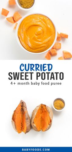 This Homemade Sweet Potato with Curry Baby Food Puree is a fun and exotic first puree for baby! Creamy smooth and filled with a ton of essential nutrients for growing baby. Great baby food for 4 months (stage 1 baby food). Making Sweet Potato Fries, Sweet Potato Curry, Baby Puree Recipes, Baby Food Recipes, 4 Month Baby Food, Easy Cooking, Cooking Recipes, Baby Fruit, Baby First Foods