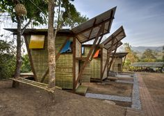 Soe Ker Tie Bamboo Houses Built For Refugee Orphans: could be a good model for a tiny beach hut or backyard hut.