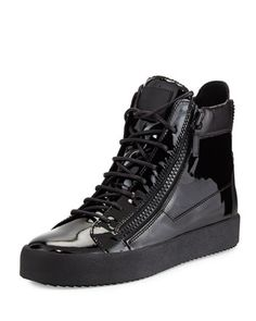 fb1e021a84e Giuseppe Zanotti Mens Patent Leather High-Top Sneaker