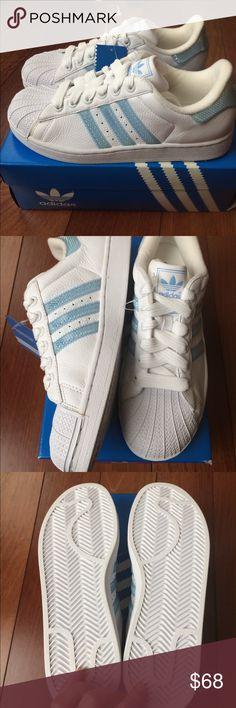 895604fc81a31 NIB Adidas Superstar Blue Holographic Stripe Brand new