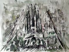 Laura Climent. Ink quick sketch.  Barcelona. Sagrada Familia. Quick Sketch, Barcelona, Ink, Abstract, Artwork, Black, Alone Photography, Sagrada Familia, Blanco Y Negro