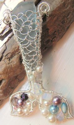 Mermaid pendant beach sea glass blue sterling silver by StudioPMR, SOLD but just ask me about creating yours