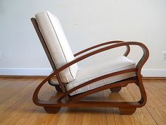 Art Deco Brown Wooden 1930's  Mid Century Estate Arm Chair, Custom Gift For Husband Dad, Designer Home Decor For Beach Cottage, Modern Chair