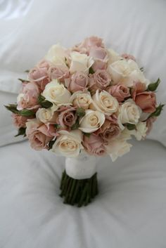 This bouquet would be too big for me but I like the antique-y colour of these ro. This bouquet wou Purple Wedding Bouquets, Dusty Rose Wedding, Bride Bouquets, Flower Bouquet Wedding, Wedding Colors, Bridesmaid Bouquets, Bridesmaid Color, Ivory Wedding, Wedding Bridesmaids