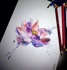 Ideas for flowers tattoo watercolor lotus Aquarell Lotus Tattoo, Watercolor Lotus Tattoo, Aquarell Tattoos, Watercolor Flowers, Watercolor Ideas, Watercolor Paintings, Vietnam Tattoo, Flower Tattoos, Small Tattoos