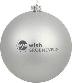 Bedrukte kerstbal, zilver met Eyewish Groeneveld