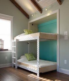 Murphy Bed Bunk Beds? Yes!!! From HGTV Blog Cabin (HGTV Folio app) Possibility for down the road with two kiddos!