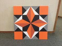 Barn Quilt Designs, Barn Quilt Patterns, Quilting Designs, Geometric Quilt, Abstract Geometric Art, Quilting Projects, Art Projects, Orange Quilt, Painted Barn Quilts