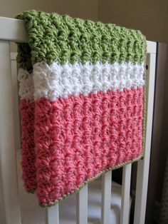 Chunky Preppy Baby Girl Reversible Crochet Blanket and Hat Set on Etsy, $50.00