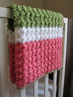 Chunky Preppy Baby Girl Reversible Crochet Blanket
