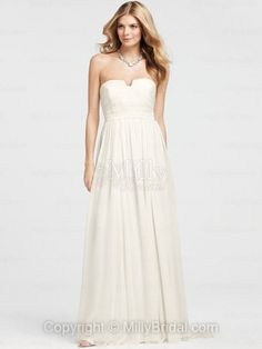 A-line Strapless Chiffon Floor-length White Draping Wedding Dresses