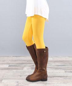 Loving this Mustard Fleece Leggings on #zulily! #zulilyfinds