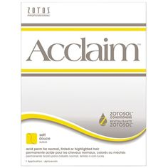 SP-966223 ACCLAIM PERM - REGULAR   Acclaim acid perms allow you to create the texture, volume and styles your clients desire. the Acclaim formula, combined with natural processing, provides optimum true-to-rod size curls with consistent, predictable curls. Test curl required on tinted hair. No dryer heat required. Exclusive Zotosol conditioners help replenish and strengthen the hair for healthy-looking shine, smooth feel and greater styling control.