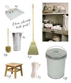 Fashionable and affordable cleaning tools - definitely interested in getting a wooden handled toilet cleaner and a galvanized pail for it, since it's one of the things that sits out!