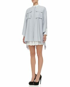 -4RB3 Alexander McQueen Oversized Buttoned Pique Cargo-Pocket Tunic & Pleated Sangallo Lace Skirt