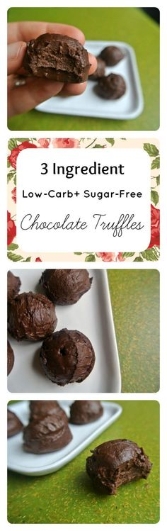 3 Ingredient Low-Carb + Sugar-Free Chocolate Truffles - over 70K repins! The perfect simple healthy treat. It's also THM-S if you follow the Trim Healthy Mama diet.