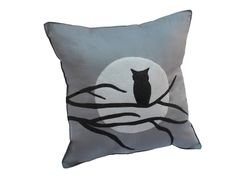 Owl Moon and Tree Branch Silhoutte  Gray Felt Pillow