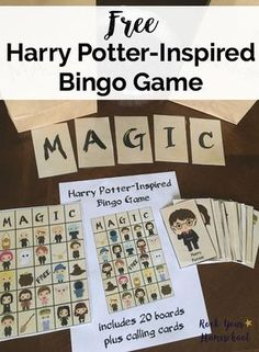 Free printable pack of Harry Potter-Inspired Bingo Game that your kids will love! Enjoy a this fun & easy-to-use game for parties, brain breaks, & every day fun.