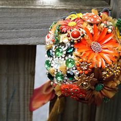 Bridal brooch bouquet COLOUR BLAST - wedding keepsake made with vintage brooches, earrings, french beaded leaves - orange rust green £299.00