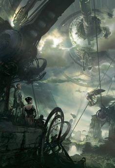 fantastic world by Stephan Martiniere - Gaaaaaasp this looks almost exactly like the battle scene at the end of Dark Arcana! Just replace the girl with Aurana, and Ethan would be aboard the giant wheelship.