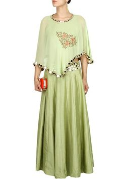 Pista green mirror and thread embroidered cape lehenga set