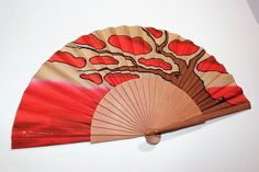 Handpainted Silk Hand Fans, mounted on a structure of Pear Tree wood. Open size: - Closed size: - The Hand Fan comes with cloth bag in elegant packaging made by me. Paper Fans, Cloth Bags, Birthday Gifts, Gifts For Her, Hand Painted, Bridesmaid, Silk, Etsy, Wood
